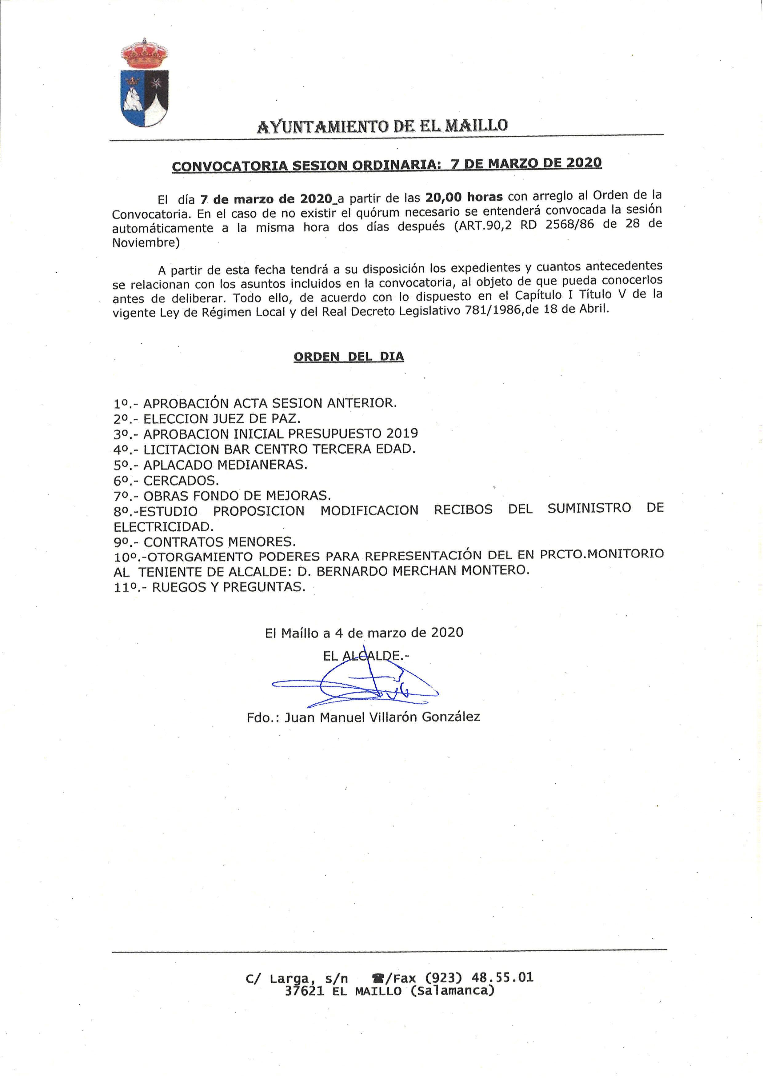 El Maillo convocatoria pleno 7 marzo 2020